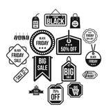 Icone messe, stile semplice di Black Friday Immagine Stock Libera da Diritti