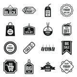 Icone messe, stile semplice di Black Friday Immagine Stock