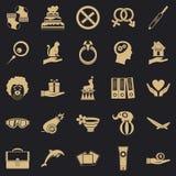 Icone messe, stile semplice di entusiasmo illustrazione di stock
