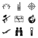 Icone messe, stile semplice di posizione di Geo illustrazione di stock