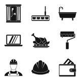 Icone messe, stile semplice di riparazione del bagno illustrazione di stock