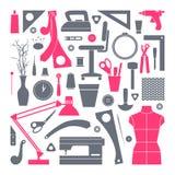 Icone messe strumenti di hobby e di cucito Fotografia Stock Libera da Diritti