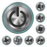 Icone metalliche Media Player Immagini Stock Libere da Diritti