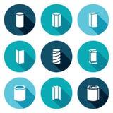 Icone metallurgiche dei prodotti messe Illustrazione di vettore Fotografie Stock Libere da Diritti