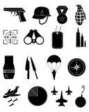 Icone militari dell'esercito messe Immagini Stock Libere da Diritti