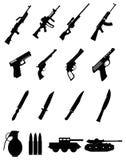 Icone militari delle armi messe Fotografia Stock Libera da Diritti