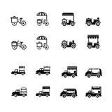Icone mobili della bicicletta e dell'automobile dell'alimento fotografia stock