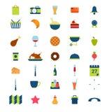 Icone mobili di app di web del ristorante del menu dell'alimento della bevanda piana della bevanda Fotografie Stock Libere da Diritti