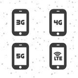 Icone mobili di telecomunicazioni 3G, 4G, 5G e simboli di LTE Immagini Stock Libere da Diritti