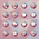 Icone mobili su fondo poligonale Fotografie Stock Libere da Diritti