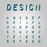Icone moderne del carattere di numeri e di alfabeti, vettore tipografico Immagine Stock