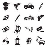 Icone moderne del gangster Immagine Stock Libera da Diritti