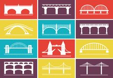 Icone moderne del ponte sulle progettazioni variopinte del fondo royalty illustrazione gratis