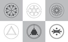 Icone moderne di alchemia illustrazione vettoriale