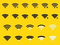 Icone moderne di wifi di vettore messe su giallo illustrazione vettoriale