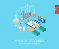 Icone moderne isometriche piane di concetto 3d di ricerca medica Fotografia Stock