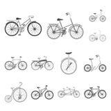 Icone monocromatiche delle varie biciclette nella raccolta dell'insieme per progettazione Il tipo di web delle azione di simbolo  Fotografie Stock Libere da Diritti