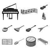 Icone monocromatiche dello strumento musicale nella raccolta dell'insieme per progettazione Simbolo isometrico di vettore dello s illustrazione di stock