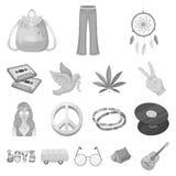 Icone monocromatiche di attributo e felici nella raccolta dell'insieme royalty illustrazione gratis
