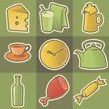 Icone multicolori dell'alimento Immagine Stock Libera da Diritti