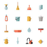Icone multicolori piane di pulizia di vettore messe Progettazione di Minimalistic Immagini Stock Libere da Diritti