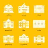 Icone municipali di bianco delle costruzioni illustrazione di stock