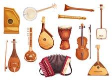 Icone musicali dell'acquerello degli strumenti di piega royalty illustrazione gratis