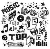 Icone musicali disegnate a mano Fotografia Stock