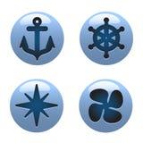 Icone nautiche Fotografia Stock Libera da Diritti