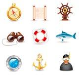 Icone nautiche Fotografie Stock Libere da Diritti