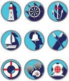 Icone nautiche degli elementi I nel cerchio annodato compreso la campana della barca, barca, remi, timone, maschera d'annata di i Fotografie Stock