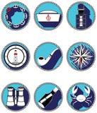 Icone nautiche degli elementi IV nel cerchio annodato Immagini Stock
