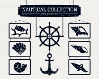 Icone nautiche disegnate a mano messe Fotografie Stock