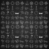 Icone nautiche messe Fotografia Stock