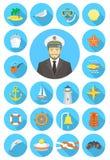 Icone nautiche rotonde piane con giovane capitano attraente illustrazione di stock