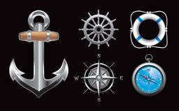 Icone nautiche su priorità bassa nera Fotografie Stock Libere da Diritti