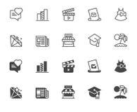 Icone nelle progettazioni di glifo e della linea Film, istruzione, giochi, stampa, grafici di economia, profilo di tema di affari illustrazione di stock