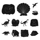 Icone nere dei dinosauri differenti nella raccolta dell'insieme per progettazione Illustrazione animale preistorica di web delle  Fotografia Stock Libera da Diritti