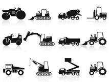 Icone nere dei veicoli della costruzione impostate Immagine Stock Libera da Diritti