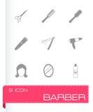 Icone nere del barbiere di vettore messe royalty illustrazione gratis
