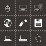 Icone nere del computer di vettore messe Fotografia Stock