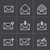 Icone nere del email di vettore messe Fotografie Stock Libere da Diritti