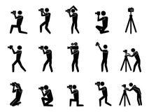 Icone nere del fotografo impostate Immagine Stock