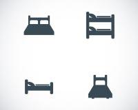 Icone nere del letto di vettore messe Fotografia Stock Libera da Diritti