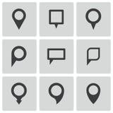 Icone nere del puntatore della mappa di vettore messe illustrazione vettoriale