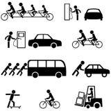 Icone nere del trasporto Fotografia Stock