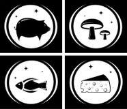 Icone nere dell'alimento messe Fotografie Stock Libere da Diritti