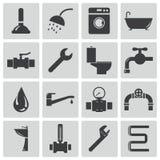 Icone nere dell'impianto idraulico di vettore illustrazione vettoriale