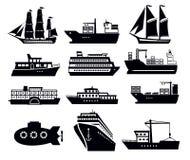 Barca e nave illustrazione di stock