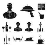 Icone nere della barra e del ristorante nella raccolta dell'insieme per progettazione Il piacere, l'alimento e l'alcool vector il Fotografia Stock